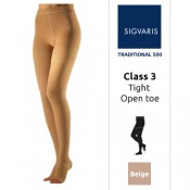 Sigvaris Traditional 500 Thigh Class 3 (RAL) Beige Compression Stockings with Open Toe