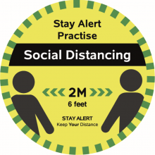 Five-Pack of Social Distancing Two-Metre Floor Stickers – 30cm Width (Yellow/Green)