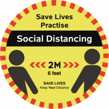Five-Pack of Social Distancing Two-Metre Floor Stickers – 30cm Width (Yellow/Red)