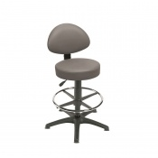 Sunflower Medical Grey Gas-Lift Stool with Back Rest, Foot Ring and Glides