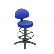 Sunflower Medical Mid Blue Gas-Lift Stool with Back Rest, Foot Ring and Glides