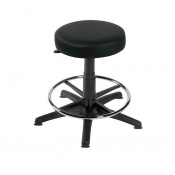 Sunflower Medical Black Gas-Lift Stool with Foot Ring and Glides