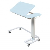 Sunflower Medical Blue Over Bed Table with C-Shaped Base and Recessed High Impact PVC Tilting Top