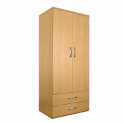 Sunflower Medical Oak Gents Double Wardrobe with Drawers