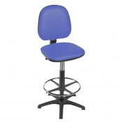 Sunflower Medical High-Level Mid Blue Gas-Lift Chair with Foot Ring and Glides