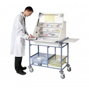 Sunflower Medical Large Ward Drug and Medicine Dispensing Trolley with Two Storage Trays