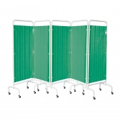 Sunflower Medical Forest Green Mobile Five-Panel Folding Hospital Ward Curtained Screen