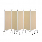Sunflower Medical Beige Mobile Five-Panel Folding Hospital Ward Screen