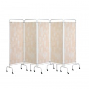 Sunflower Medical Beige Patchwork Mobile Five-Panel Folding Hospital Ward Screen