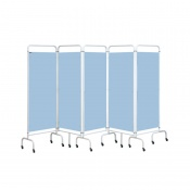 Sunflower Medical Sky Blue Mobile Five-Panel Folding Hospital Ward Screen