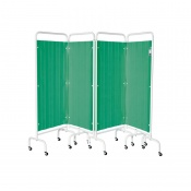 Sunflower Medical Forest Green Mobile Four-Panel Folding Hospital Ward Curtained Screen