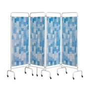 Sunflower Medical Blue Patchwork Mobile Four-Panel Folding Hospital Ward Screen