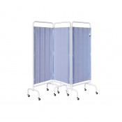Sunflower Medical Summer Blue Mobile Three-Panel Folding Hospital Ward Curtained Screen