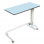 Sunflower Medical Blue Over Bed Table with C-Shaped Base and Compact Grade Laminate Flat Top