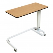 Sunflower Medical Beech Over Bed Table with C-Shaped Base and Compact Grade Laminate Flat Top with 1 Raised Lip