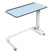 Sunflower Medical Blue Over Bed Table with C-Shaped Base and Compact Grade Laminate Flat Top with 1 Raised Lip