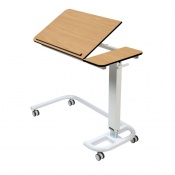 Sunflower Medical Beech Over Bed Table with C-Shaped Base and Compact Grade Laminate Tilting Top with 1 Raised Lip