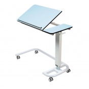 Sunflower Medical Blue Over Bed Table with C-Shaped Base and Compact Grade Laminate Tilting Top with 1 Raised Lip