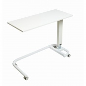 Sunflower Medical White Over Bed Table with C-Shaped Base and MFC Flat Top