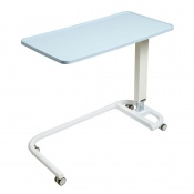 Sunflower Medical Blue Over Bed Table with C-Shaped Base and Recessed High Impact PVC Flat Top