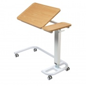 Sunflower Medical Beech Over Bed Table with C-Shaped Base and Recessed High Impact PVC Tilting Top