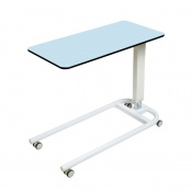 Sunflower Medical Blue Over Bed Table with Parallel Base and Compact Grade Laminate Flat Top