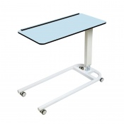 Sunflower Medical Over Bed Table with Parallel Base and Compact Grade Laminate Flat Top with 1 Raised Lip in Blue