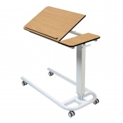 Sunflower Medical Beech Over Bed Table with Parallel Base and Compact Grade Laminate Tilting Top with 1 Raised Lip