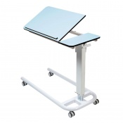 Sunflower Medical Blue Over Bed Table with Parallel Base and Compact Grade Laminate Tilting Top with 1 Raised Lip
