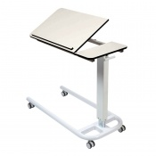 Sunflower Medical Over Bed Table with Parallel Base and Compact Grade Laminate Tilting Top with 1 Raised Lip in White