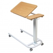 Sunflower Medical Beech Over Bed Table with Parallel Base and Recessed High Impact PVC Tilting Top