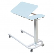 Sunflower Medical Blue Over Bed Table with Parallel Base and Recessed High Impact PVC Tilting Top