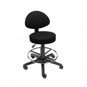 Sunflower Medical Black Gas-Lift Stool with Back Rest and Foot Ring