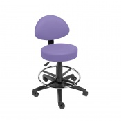 Sunflower Medical Lilac Gas-Lift Stool with Back Rest and Foot Ring