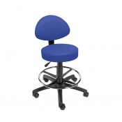 Sunflower Medical Mid Blue Gas-Lift Stool with Back Rest and Foot Ring