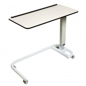 Sunflower Medical White Over Bed Table with C-Shaped Base and Compact Grade Laminate Flat Top with 1 Raised Lip