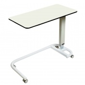 Sunflower Medical White Over Bed Table with C-Shaped Base and Compact Grade Laminate Flat Top