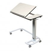 Sunflower Medical White Over Bed Table with C-Shaped Base and Compact Grade Laminate Tilting Top with 1 Raised Lip