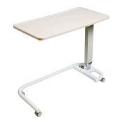 Sunflower Medical White Over Bed Table with C-Shaped Base and Recessed High Impact PVC Flat Top