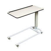 Sunflower Medical White Over Bed Table with Parallel Base and Compact Grade Laminate Flat Top with 1 Raised Lip