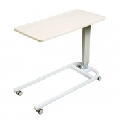 Sunflower Medical White Over Bed Table with Parallel Base and Recessed High Impact PVC Flat Top