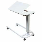 Sunflower Medical White Over Bed Table with Parallel Base and Recessed High Impact PVC Tilting Top