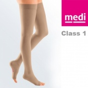 Medi Mediven Plus Class 1 Beige Thigh Compression Stockings with Open Toe