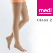Medi Mediven Plus Class 2 Beige Thigh Compression Stockings with Open Toe