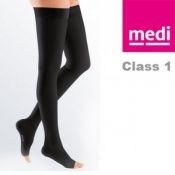Medi Mediven Plus Class 1 Black Thigh Compression Stockings with Open Toe