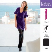 Venactif Evidence Microfibre AFNOR Class 3 Black Thigh Compression Stockings